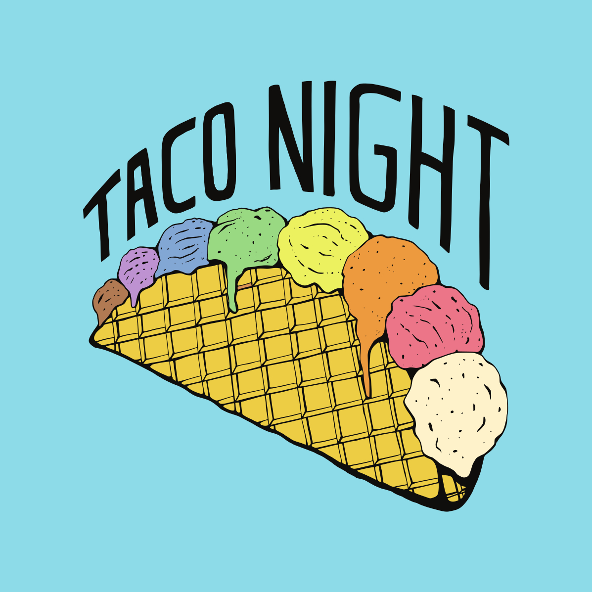 Ice cream taco night illustration
