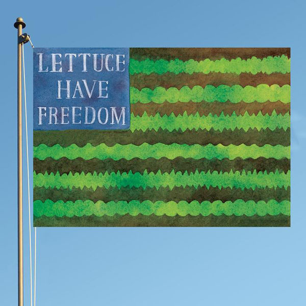Lettuce have freedom seed packet illustration